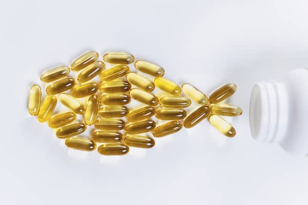 omega-3 capsules in the shape of a fish