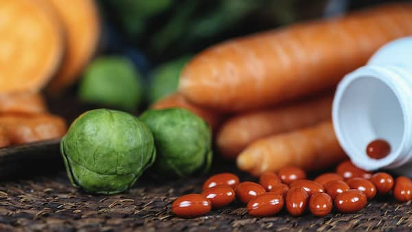 supplements and fresh vegetables