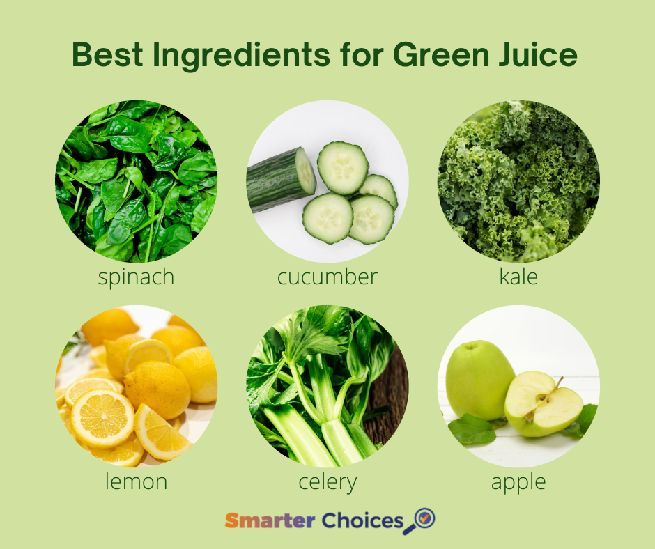 Best Ingredients for Green Juice: spinach, cucumber, kale, lemon, celery and apple.