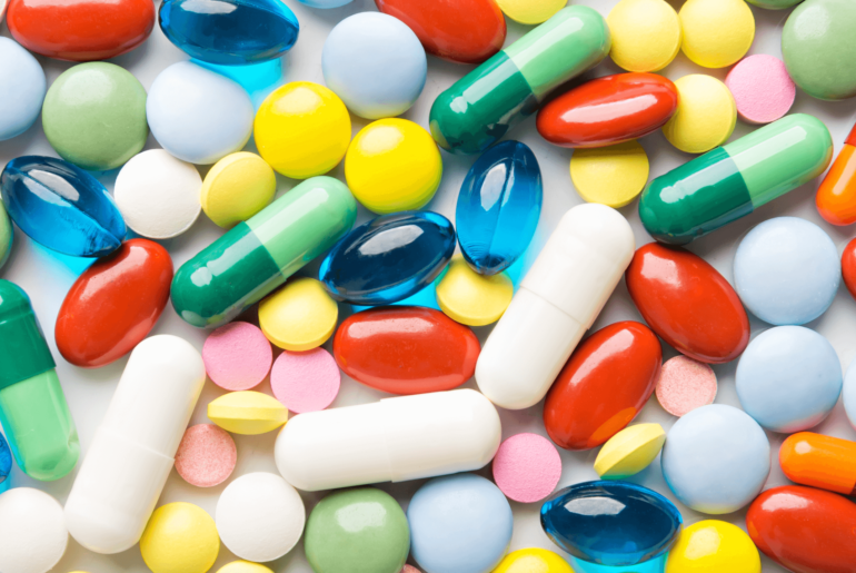 Colourful pills and supplements