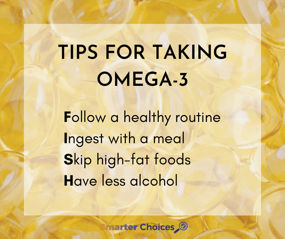 Graphic on tips for taking omega-3