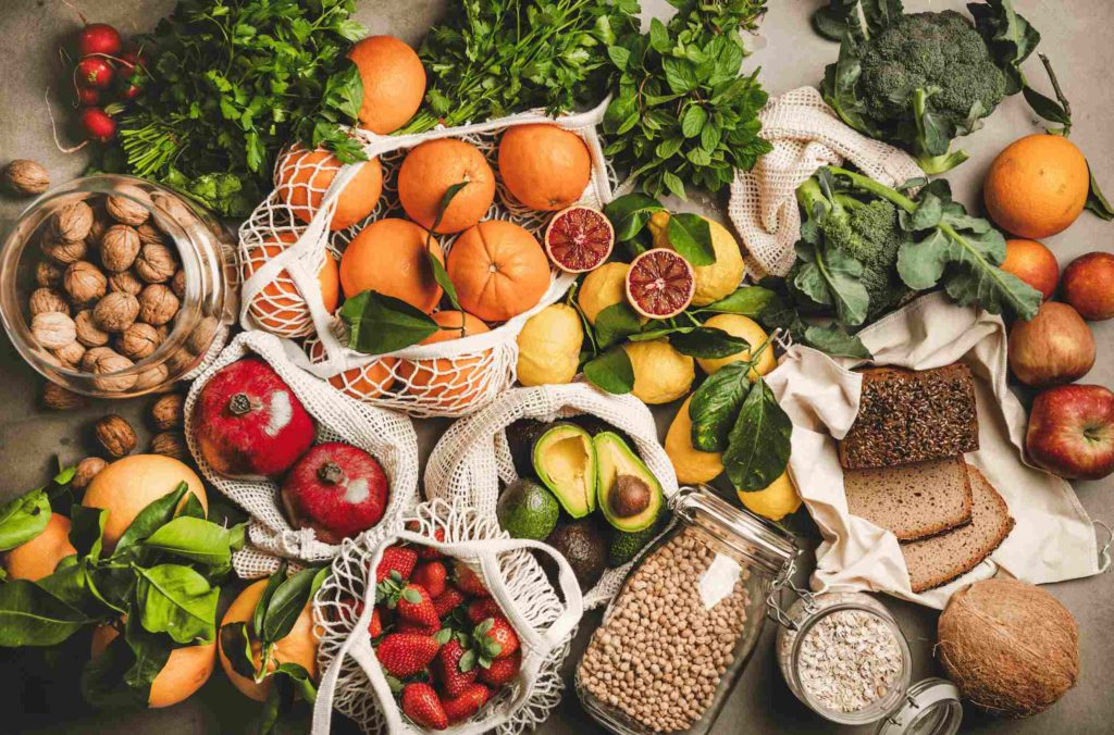 Healthy fruits, vegetables and grains.